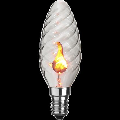 Dekorationspære LED med blafrende flamme - lille fatning (e14)