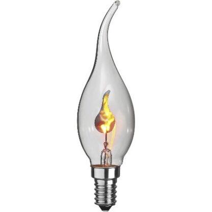 Pære med blarende flamme, bøjet spids, lille fatning