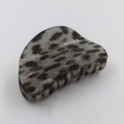 Hårklemme hvid sølv leopard