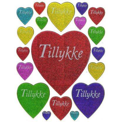 Stickers tillykke hjerter