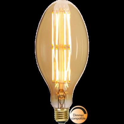 Mellemstor Amber Glass 23 cm høj Industrial Vintage LED