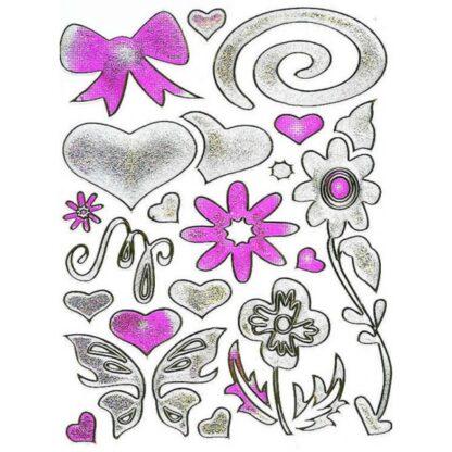 Stickers sølv hjerte med blomster og sløjfe