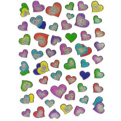 54 stickers sølvfarvede hjerter