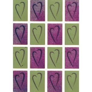 Stickers hjerter i glimmer firkant