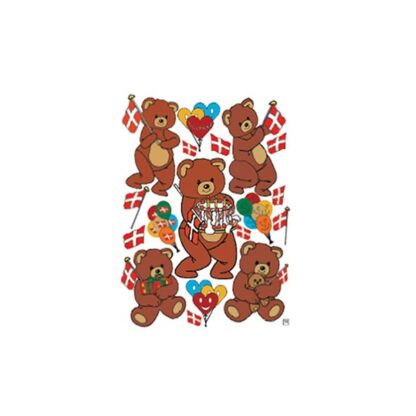 Stickers fødselsdags bamse dansk