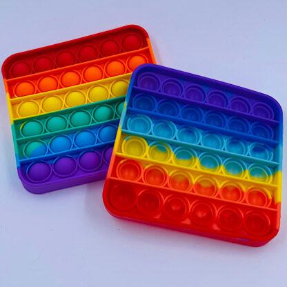 Pop it Fidget Toy Firkantet Regnbuefarvet Tilbud